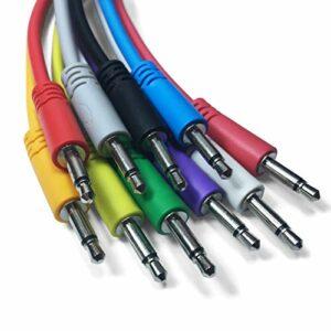 Eurorack Lot de 5 câbles de raccordement mono 3,5 mm pour synthétiseurs modulaires (10 couleurs/7 longueurs) (60cm, Bleu)