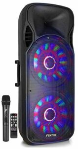 Fenton FT215LED Enceinte Sono Portable avec Batterie 15″, 1600W, Enceinte Portable, Bluetooth, USB, SD, AUX, 2 Micro sans Fil, Eclairage LED, Idéal pour soirées et animations