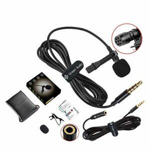 HCSM Lavalier Microphone à cravate 3,5 mm avec condensateur à bille et câble d'extension de 2 m pour appareil photo, téléphone, PC, iPad pour interview, vidéo, podcast, dictate