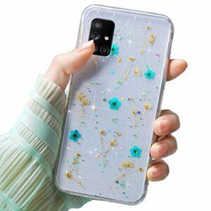 Herbests Coque de protection en silicone souple ultra fine pour Samsung Galaxy A71 Motif fleurs séchées Bleu