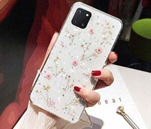 Herbests Coque de protection en silicone souple ultra fine pour Samsung Galaxy Note 10 Lite Motif fleurs séchées Rose