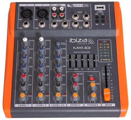 Ibis MX401 Table de Mixage Musique à 4 USB Noir