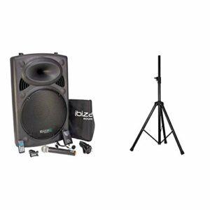 Ibiza PORT15VHF-BT Sonorisation portable USB/Bluetooth Noir & SS03 Pied pour Enceinte Noir