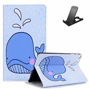 Jorisa Coque pour Samsung Galaxy Tab A7 2020 10.4 T500/T505/T507,Étui Portefeuille en Cuir Mince Dessin Animé Mignon,Housse à Rabat Support Smart avec Veille/Réveil Automatique,Dauphin