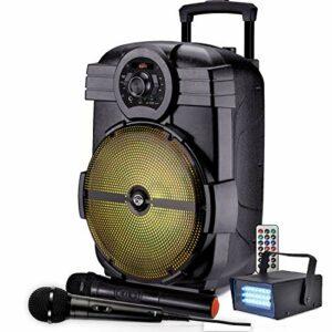 KARAOKE 600W 2 MICROS fil et sans fil ENCEINTE SONO PORTABLE PA Autonome Bluetooth USB + Stroboscope LED