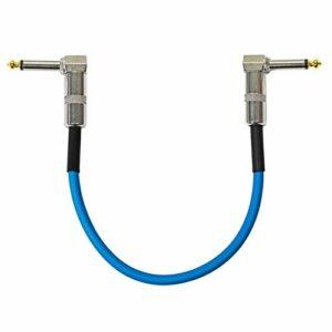 keepdrum GC028 Câble patch jack 6,3 mm pour guitare Bleu 30 cm