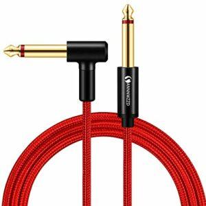 LinkinPerk Câble guitare 6,35 mm TS Mono Instrument Performance Cord 1/4 Jack droit à angle droit pour guitare, basse, clavier (2M)