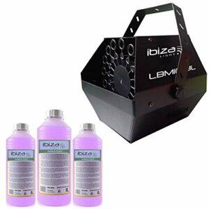 Machine à bulles Noir grand débit IBIZA LIGHT LBM-10 pour mariages, soirées, Dj, avec 3L de liquide