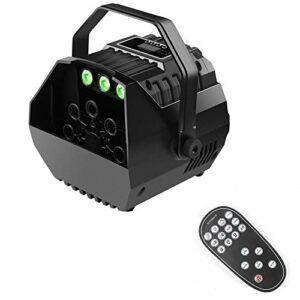 Machine à bulles portable – Mini machine à bulles avec lumières RVB – 15 W – Pour mariage, fête, festival, anniversaire, Noël