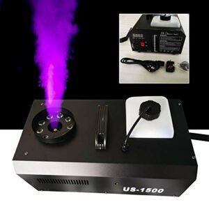 Machine à fumée portable 3 en 1 1500 W DMX 9 LED RVB Fog Machine avec télécommande Réservoir de 2,5 L pour mariage, fête, théâtre, disco Club