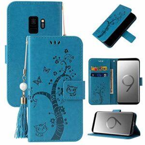 Miagon Portefeuille Flip Coque pour Samsung Galaxy S9,Charmant Papillon Arbre Chat Désign PU Cuir Étui Livre Style Supporter Fonction Housse Cover,Bleu