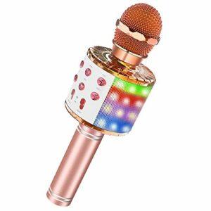 Microphone Karaoké Sans Fil Bluetooth, Portable Micro Bluetooth 4 en 1 avec Lumière LED Colorée KTV Karaoké pour Fête Chanter Enregistrement Idée Cadeau Enfants Adulte, Compatible avec Android/IOS/PC