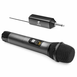 """Microphone sans Fil, TONOR Système UHF de Micro à Main en Métal avec Récepteur rechargeable, sortie 1/4"""" pour Amplificateur, Système de Sonorisation, Machine Karaoké de Chant, 60m (TW-620)"""