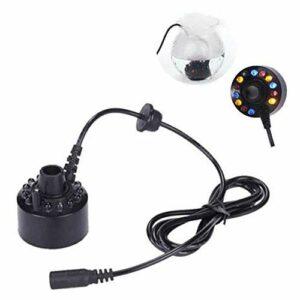 Mini Machine à brouillard 12 LED à ultrasons fabricant nébler LED brouillard Machine à fumée Diffuseur Mist Maker Convient pour les fontaines intérieures ou extérieures