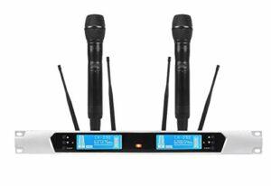MLHXHX Microphone sans fil longue distance True Diversity Microphone sans fil Section U pour deux paires de micro FM karaoké mariage hôte performa extérieur
