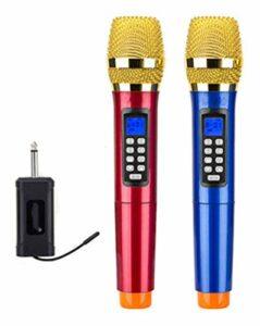 MLHXHX Microphone sans fil pour karaoké – Double microphone universel – Un pour deux karaoké – Pour l'extérieur – Pour karaoké – Pour spectacle en direct