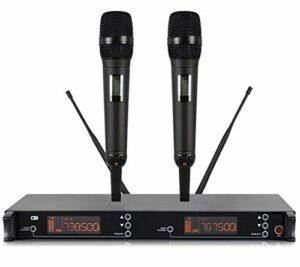 MLHXHX Microphone sans fil, un double système de microphone dynamique sans fil UHF professionnel, écran LCD, kit familial Ktv noir