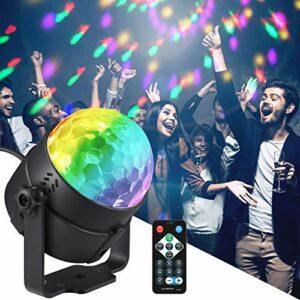 Moukey Party Lights, Boule disco avec stroboscopiques activés par le son 7 modes d'éclairage Télécommande pour DJ Bar Pub Club Party Karaoke Musique Show Intérieur et Extérieur One piece