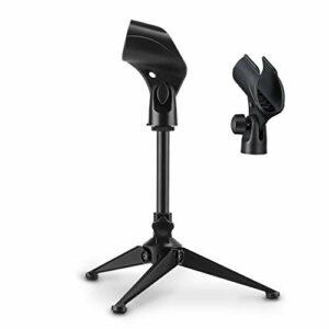Moukey Support de Table pour Micro Trépied avec Pince pour Microphone Hauteur Réglable