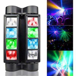 NBVCX Accessoires pour la MaisonLumière Principale Mobile Son d'araignée et contrôle DMX 512 Lumière d'effet de scène 8 LED pour Bar Club DJ Disco Fête à la Maison