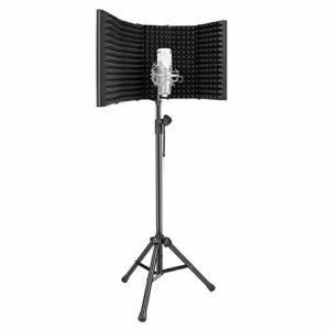 Neewer Bouclier d'Isolation de Microphone avec Kit de Support, Filtre Anti-pop en Mousse Haute Densité à 5 Panneaux avec Support Réglable pour Enregistrement (Micro et Support Antichoc NON Inclus)