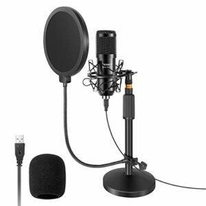 Neewer Microphone USB avec Kit de Support, 192KHz / 24Bit Micro à Condensateur PC Cardioïde avec Support de Micro à Base Ronde, Filtre Anti-Pop et Support Antichoc pour Ordinateur, Youtube, Podcasts