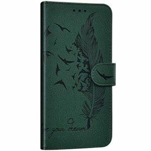 NSSTAR Compatible avec Huawei P20 Lite 2019 Étui Housse en Cuir Portefeuille Coque Magnétique Flip Cover Fentes de Cartes Plume oiseau Motif Pochette Coque Protection avec à Rabat Stand,Vert