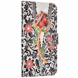 NSSTAR Compatible avec Huawei P40 Lite Coque Housse en Cuir Etui à Rabat Portefeuille Coque Brillante Bling Glitter Flip Case Magnétique Clapet avec Fonction de Support,Fleur Noir