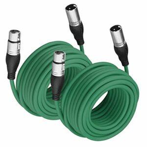 NUOSIYA Lot de 2 câbles XLR mâle vers femelle pour signal audio plus clair – En caoutchouc souple – 10 m – Vert