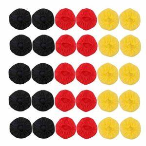 Odoukey Microphone à Usage Unique Couverture Non-tissé Microphone Couverture de Pare-Brise Microphone Couverture KTV Enregistrement Protection Studio Nouvelles Couverture Rouge Jaune Noir 200pcs