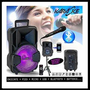 Pack Karaoké Enceinte USB SD BLUETOOTH + PIED + MICRO + BATTERIE idéal cadeau Noël, d'anniversaire PA DJ SONO MIX LED LIGHT