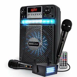 PACK KARAOKE LED Enfant ADO PARTY 400W Batterie Koolstar – 2 MICROPHONES + APP SMARTPHONE USB/Bluetooth/RADIO FM