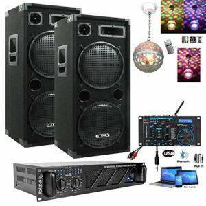 PACK SONO DJ 2960W TOTAL AMPLI + ENCEINTES + MIXAGE DJM160FX-BT + CABLAGE HP et PC PA DJ SONO SALLE DES FETES SOIREE FIESTA MARIAGE ANNIVERSAIRE