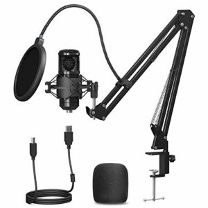 PEMOTech Kit de microphone USB pour enregistrement podcast, microphone à condensateur de jeu, micro cardioïde avec carte son bras réglable, support antichoc pour streaming, YouTube, Skype