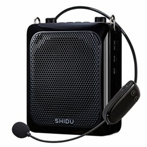 Portable Wireless Voice Amplifier (30W), Powered Louder Speaker SHIDU 2000mAh Rechargeable PA Systems with Adjustable Wired Microphone for Teacher/Coaches/Tour Guides/Yoga Instructor and More