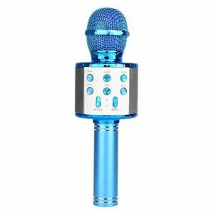 QiHaoHeji Haut-Parleur Micro sans Fil Micro Portable Lecteur de Musique Microphone à Main Microphone Karaoké (Couleur : Bleu, Size : One Size)