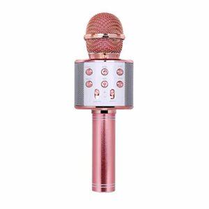 QiHaoHeji Microphone Microphone à Main sans Fil Professionnel Karaoké Haut-Parleur KTV Lecteur de Musique Enregistreur Singing Microphone Karaoké (Couleur : Rose Gold, Size : One Size)