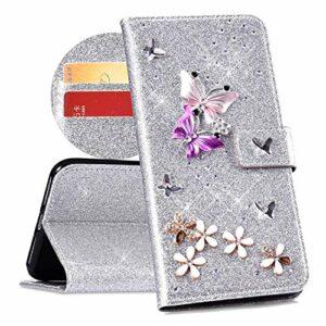 QPOLLY Compatible avec Coque Huawei Mate 10 Pro Bling Glitter 3D Diamant Portefeuille Housse à Rabat en Cuir Brillante Sparkle Étui de Protection avec Fentes de Cartes et Fonction Stand,Argent