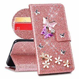 QPOLLY Compatible avec Coque Huawei Y6 2019 Bling Glitter 3D Diamant Portefeuille Housse à Rabat en Cuir Brillante Sparkle Étui de Protection avec Fentes de Cartes et Fonction Stand,Or Rose