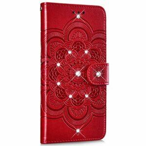 Saceebe Compatible avec Huawei P20 lite 2019 Coque Cuir Étui Wallet Housse Paillette Strass Brillante Bling Mandala Fleur Motif Portefeuille Pochette Coque Support Magnétique Antichoc,Rouge