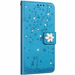 Saceebe Compatible avec Huawei P20 Lite Coque Pochette Portefeuille Housse Cuir Glitter Diamant Fleur de cerisier Chat Coque Flip Case Support Stand Housse Magnétique Étui à Rabat,Bleu