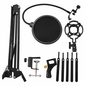 sharprepublic Kit de Support de Microphone D'enregistrement Vocal de Studio Professionnel + Filtre Anti- + Pince