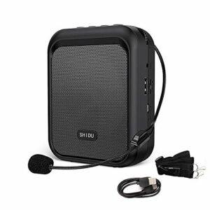SHIDU mini haut-parleur Bluetooth portable rechargeable avec écouteur filaire 10W 1800mAh, convient aux enseignants, aux chanteurs, aux entraîneurs, à la formation, aux guides touristiques