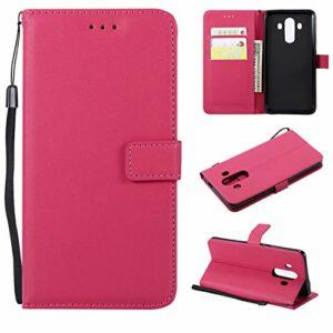 Snow Color Coque Huawei Mate 10 Portefeuille, en Cuir Flip Case pour Bumper Protecteur Magnétique Fente Carte Housse Cover Coque pour Huawei Mate10 – COMS020552 Rose Rouge