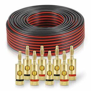 sonero® 100 mètres 2×1.50mm² CCA câble de Haut-Parleur/câble d'enceinte, Couleur: Rouge/Noir, Set Comprenant 8 fiches Bananes