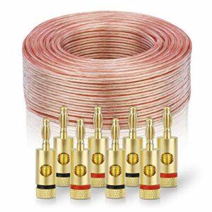 sonero® 100 mètres 2×4.00mm² CCA câble de Haut-Parleur/câble d'enceinte, Couleur: Transparent, Set Comprenant 8 fiches Bananes