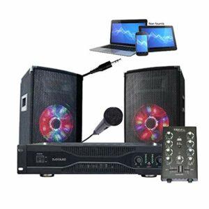 SONO pack 500w + ampli + mixage + 2 enceintes sono + câble hp, rca et câble PC – PA DJ SONO DJ350LED BAR CLUB FIESTA