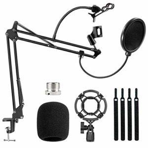 Support de Microphone, Korostro Micro Pliante Réglable Bras Pied de Suspension à Ciseaux avec filtre anti-pop, Fixation pour Micros pour Blue Yeti, Diffusion, Station de Télévision, Vidéo