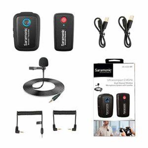Système de microphone sans fil 2,4 GHz pour smartphones, Saramonic Blink500 Micro double canal ultra compact pour appareils photo reflex numériques,sans miroir et vidéo,appareils mobiles Youtube Live