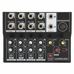Table de mixage 8 canaux, Q48 Table de mixage audio stéréo portable 8 canaux Console d'amplification de microphone karaoké, légère et facile à transporter